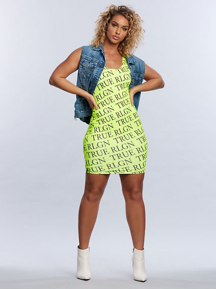 WOMENS BODIED NEON REPEAT DRESS