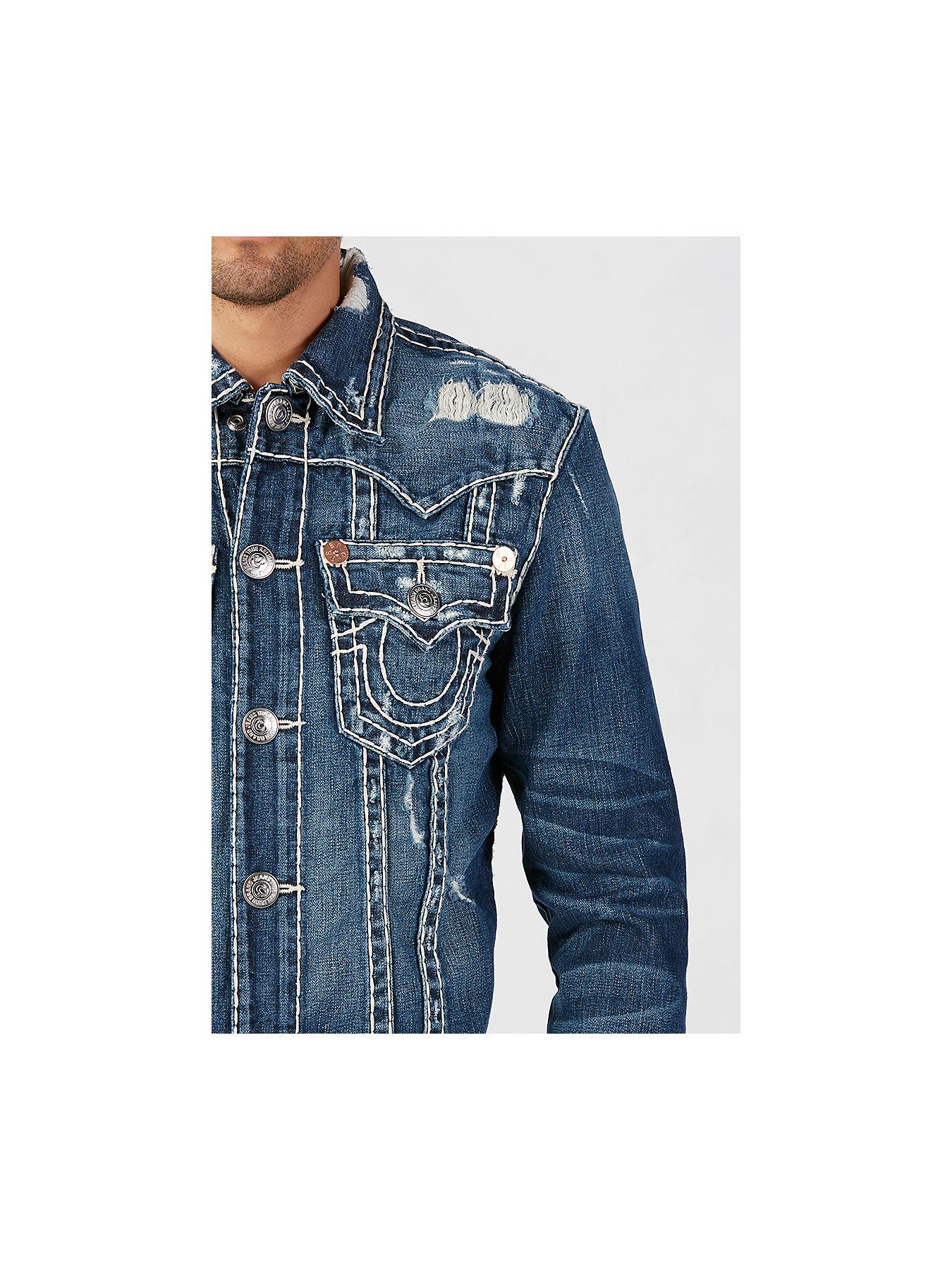 Denim Jacket with Super T Stitch - True Religion
