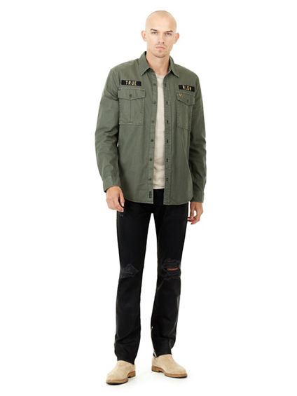 DISTRESSED DOUBLE LAYER MENS SHIRT