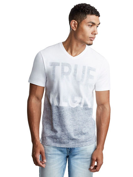 DOUBLE OMBRE V NECK MENS TEE