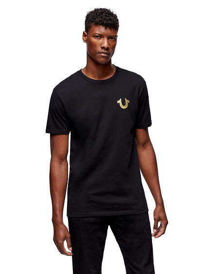 MENS METALLIC GOLD BUDDHA PUFF TEE