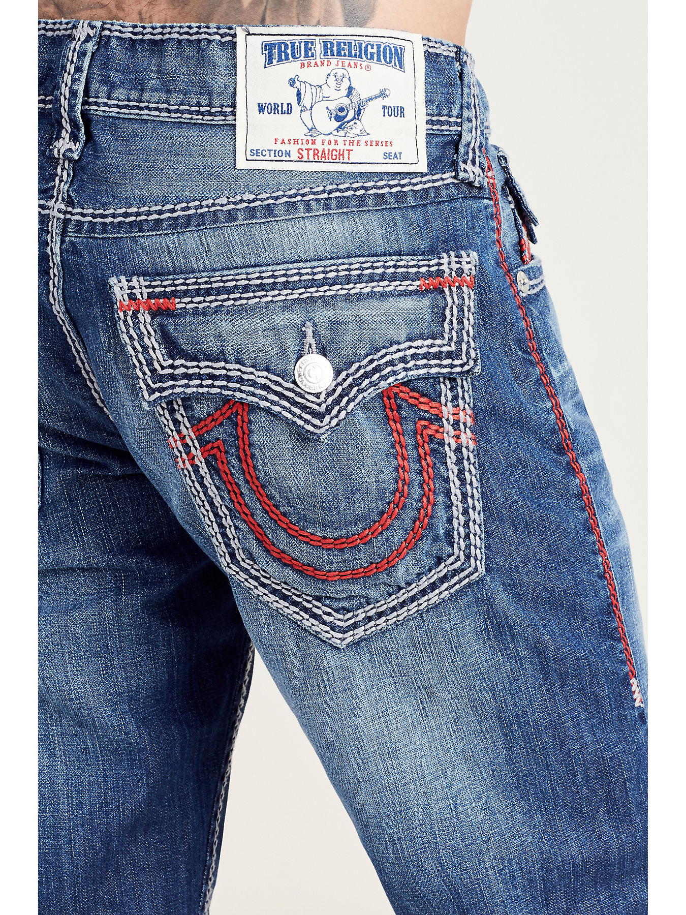 1317a843a STRAIGHT FLAP RED MEGA T STITCH MENS JEAN - True Religion