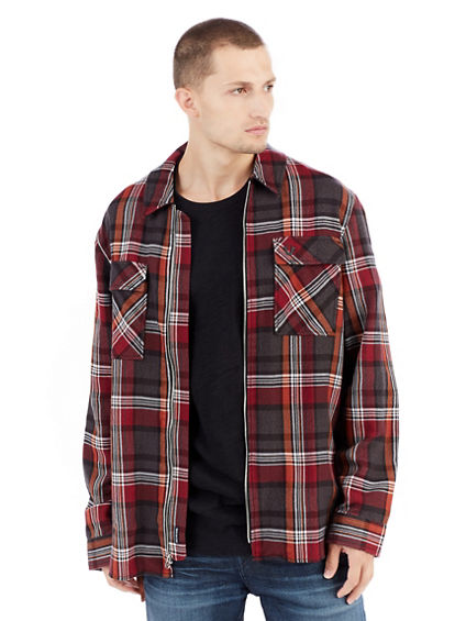 LONG SLEEVE ZIP FRONT PLAID MENS SHIRT JACKET