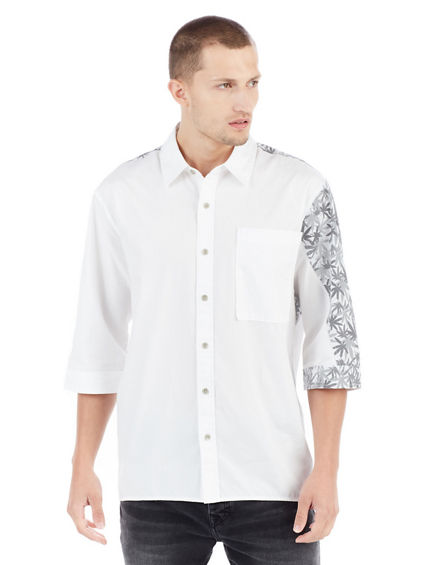 SHORT SLEEVE MULTI GREY MENS BUTTON UP SHIRT