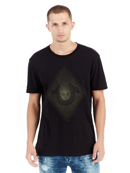 METALLIC EMBROIDERED STRING MENS CREW TEE