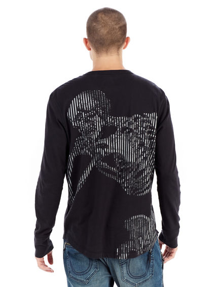 LONG SLEEVE SKELETON GRAPHIC MENS TEE