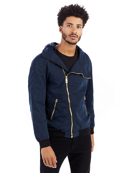MENS WAXED COTTON HOODED JACKET