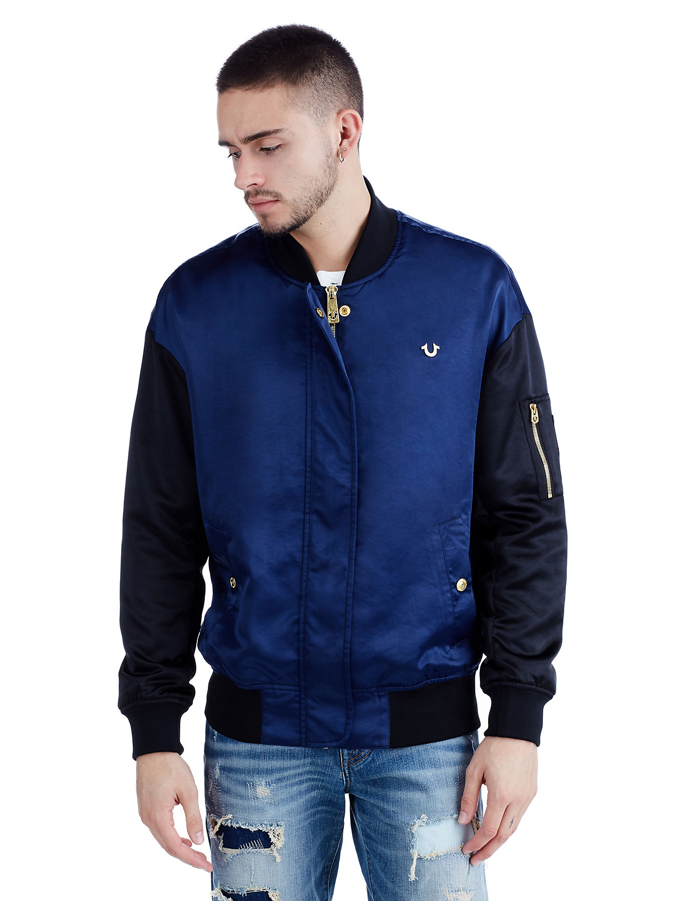 4a7f04bb7 METALLIC EMBROIDERED MENS SATIN BOMBER