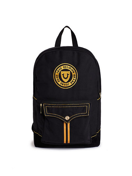 MENS VARSITY BLACK GOLD BACKPACK