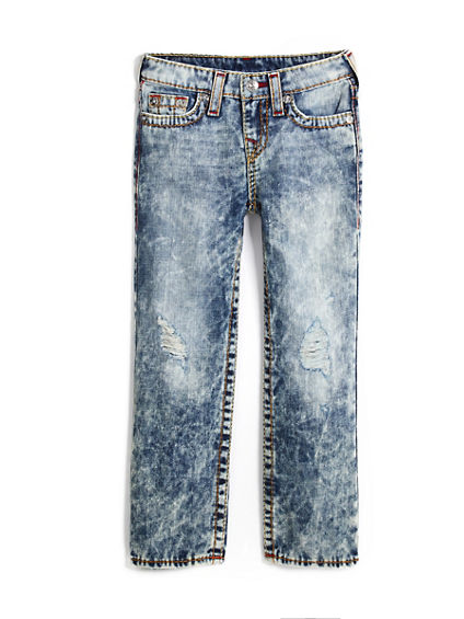 STRAIGHT FIT BIG T ACID WASH JEAN