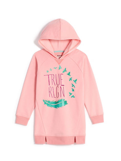 GIRLS FEATHER HOODIE DRESS