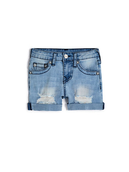 GIRLS DESTRUCTED BOY FIT SHORT
