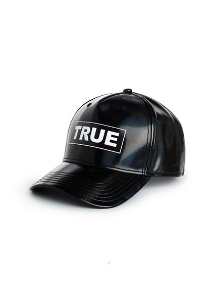 FAUX LEATHER LOGO HAT
