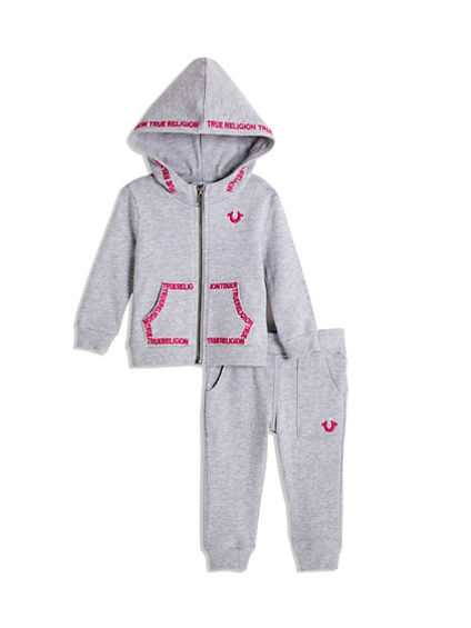 BABY GIRL EMBROIDERED HOODIE SET