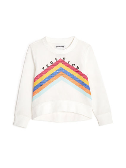 TODDLER/LITTLE KIDS RAINBOW CHEVRON MESH PULLOVER