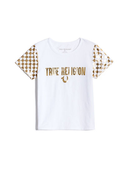 GIRLS METALLIC CHECKERED TEE