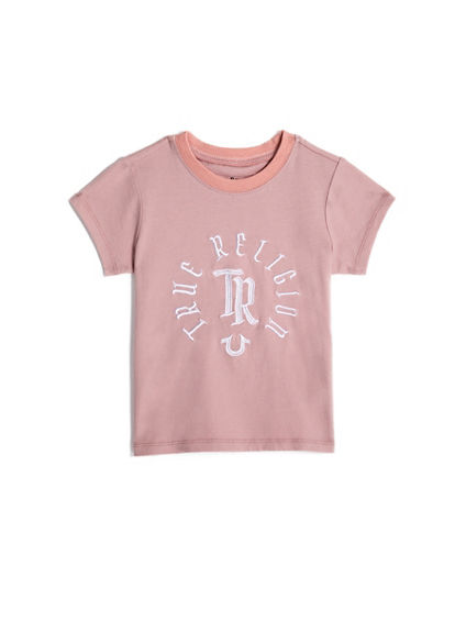 TODDLER/BIG KIDS GIRLS EMBROIDERED LOGO TEE