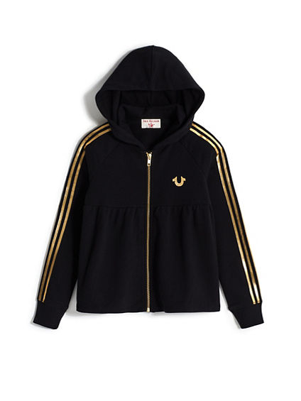 GIRLS ATHLETIC STRIPE ZIP HOODIE