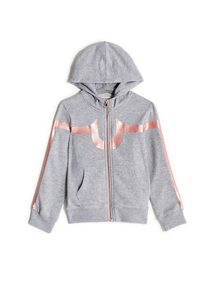 GIRLS METALLIC LOGO STRIPE ZIP HOODIE