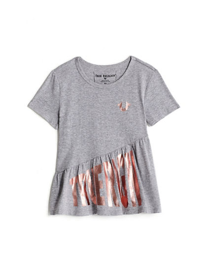 GIRLS ASYMMETRICAL RUFFLE TEE
