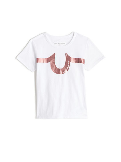 GIRLS METALLIC LOGO STRIPE TEE