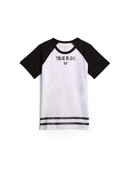 TODDLER/BIG KIDS BOYS RAGLAN LOGO TEE