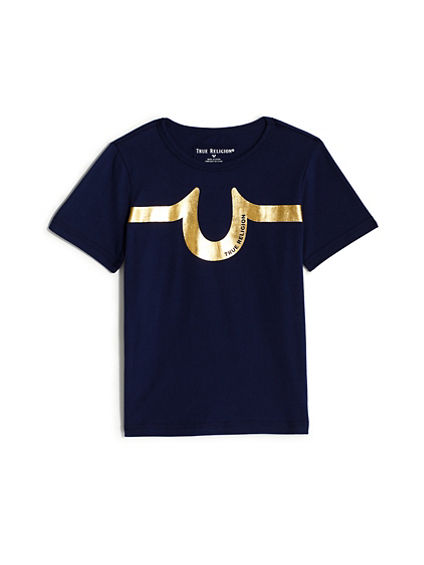 BOYS METALLIC LOGO STRIPE TEE