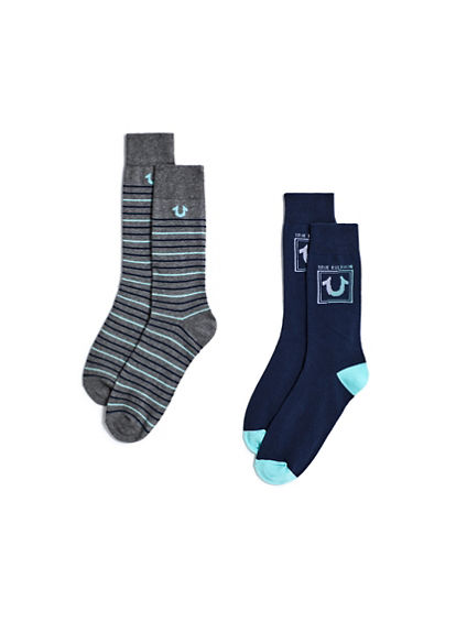 STRIPE U CREW SOCKS - 2 PK