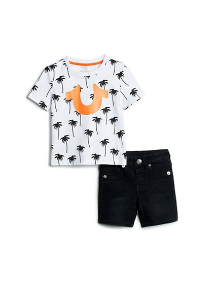 BABY BOYS PALM TEE AND SHORT SET