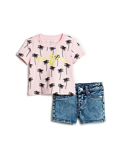 BABY GIRLS PALM TEE AND SHORT SET