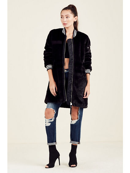 WOMENS FAUX FUR BOMBER JACKET | Tuggl
