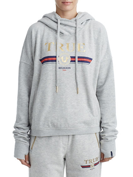 WOMENS STRIPED LOGO PULLOVER HOODIE