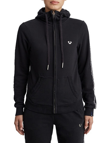 WOMENS ACTIVE ZIP UP HOODIE W/ RHINESTONES