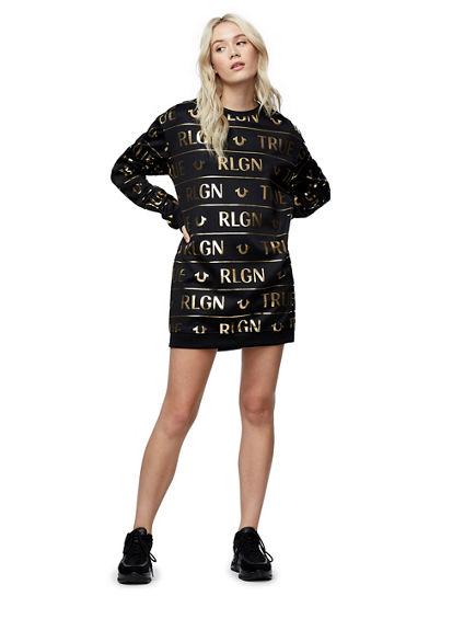 ALLOVER PRINT SWEATSHIRT DRESS