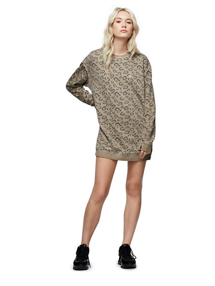 ALLOVER PRINT SWEATSHIRT DRESS
