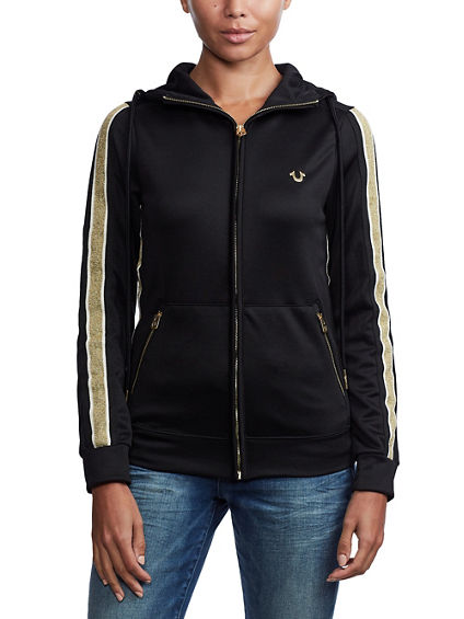 CONTRAST HOODED ZIP JACKET