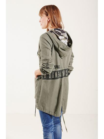 women 39 s parka jacket military parka true religion. Black Bedroom Furniture Sets. Home Design Ideas