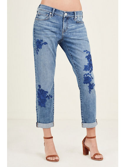 CAMERON EMBROIDERED BOYFRIEND WOMENS JEAN