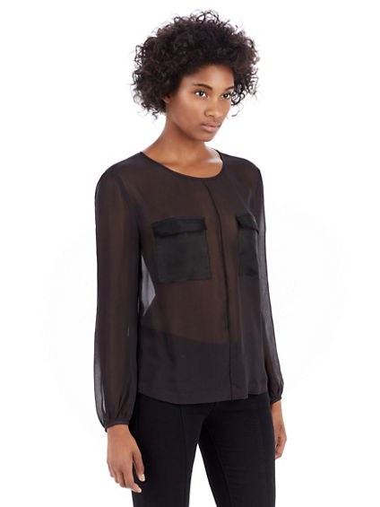 MIX MEDIA WOVEN WOMENS TOP