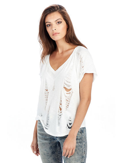 WOMENS RIPPED V NECK TEE