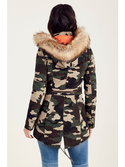 women 39 s camo parka jacket true religion. Black Bedroom Furniture Sets. Home Design Ideas