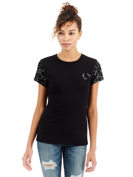 SEQUINS HORSESHOE WOMENS TEE