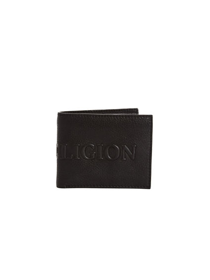 EMBOSSED LEATHER UTILITY BIFOLD WALLET