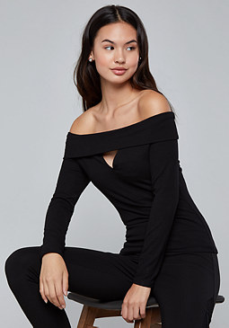bebe Cutout Off Shoulder Top