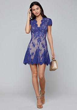 bebe Valorie Lace Godet Dress