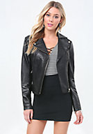 bebe Leather Pintuck Moto Jacket