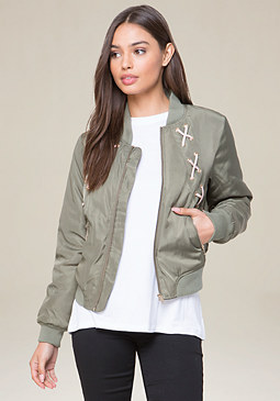 bebe Lace Up Bomber Jacket