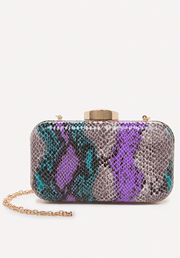 bebe Theda Faux Snake Minaudiere