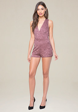 bebe Lace Back Crossover Romper