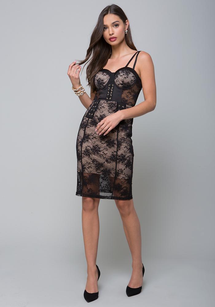 mesh-lace-corset-dress by bebe
